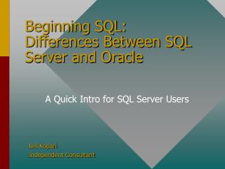 Beginning SQL: Differences Between SQL Server and Oracle