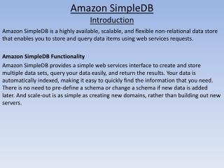 Amazon SimpleDB Introduction