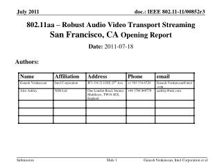 802.11aa – Robust Audio Video Transport Streaming  San Francisco, CA Opening Report