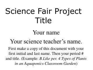 Science Fair Project Title