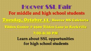 Hoover SSL Fair For middle and high school students