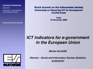 World Summit on the Information Society Partnership on Measuring ICT for Development Parallel Event  Tunis 15 November 2