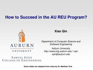 How to Succeed in the AU REU Program?