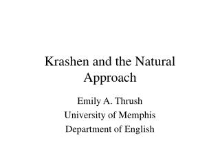 Krashen and the Natural Approach