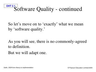 Software Quality - continued