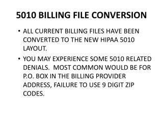 5010 BILLING FILE CONVERSION