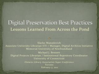 Digital Preservation Best Practices
