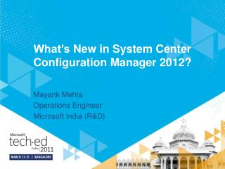 What's  New  in System Center Configuration Manager 2012?