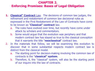 CHAPTER 2.  Enforcing Promises: Bases of Legal Obligation
