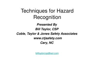 Techniques for Hazard Recognition
