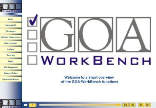 Welcome to a short overview  of the GOA-WorkBench functions