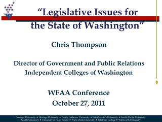 """Legislative Issues  for the  State of Washington"""