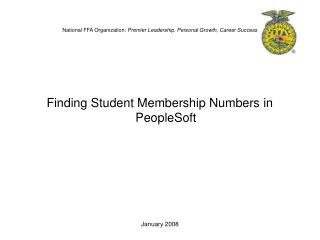 National FFA Organization:  Premier Leadership, Personal Growth, Career Success