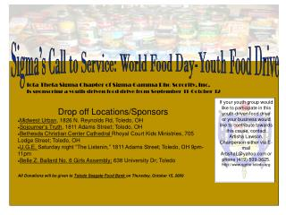 Sigma's Call to Service: World Food Day-Youth Food Drive