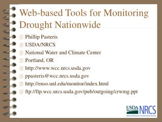 Web-based Tools for Monitoring Drought Nationwide