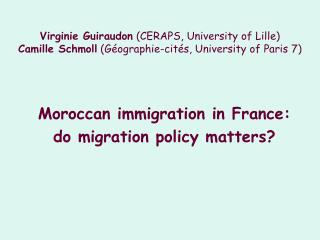 Moroccan immigration in France:  do migration policy matters?