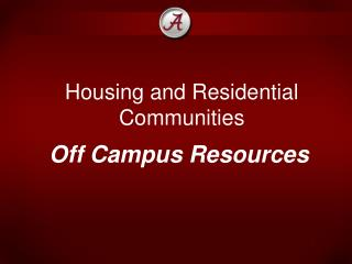 Housing and Residential Communities
