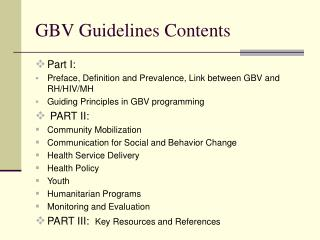 GBV Guidelines Contents