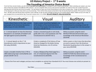 US History Project –  1 st  9-weeks  The Founding of America Choice Board