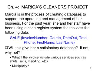 Ch. 4:  MARICA'S CLEANERS PROJECT