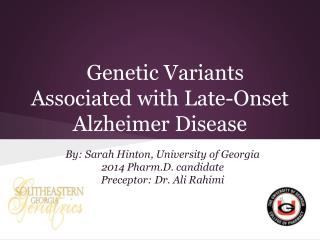 Genetic Variants Associated with Late-Onset Alzheimer Disease