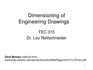 Dimensioning of Engineering Drawings