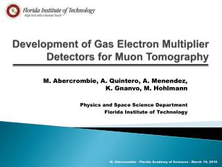 Development of Gas Electron Multiplier Detectors for  Muon  Tomography