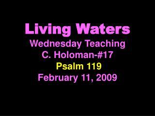 Living Waters Wednesday Teaching C. Holoman-#17 Psalm 119 February 11, 2009