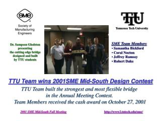 TTU Team wins 2001SME Mid-South Design Contest