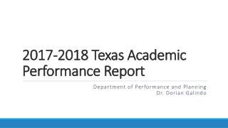 2017-2018 Texas Academic Performance Report