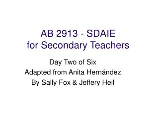 AB 2913 - SDAIE  for Secondary Teachers
