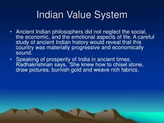 Indian Value System