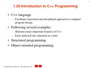 1.20 Introduction to C++ Programming