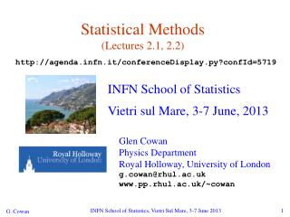 Statistical Methods (Lectures 2.1, 2.2)
