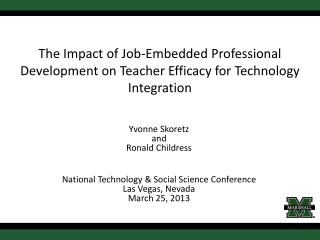 The Impact of Job-Embedded Professional Development on Teacher Efficacy for Technology Integration