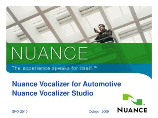 Nuance Vocalizer for Automotive Nuance Vocalizer Studio