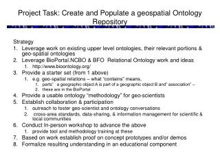 Project Task: Create and Populate a geospatial Ontology Repository