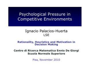 Psychological Pressure in Competitive Environments