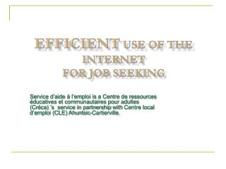 Efficient  Use  of  the Internet  for Job  Seeking