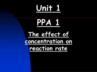 Unit 1 PPA 1 The effect of concentration on reaction rate