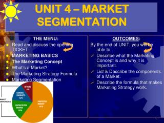 UNIT 4 – MARKET SEGMENTATION