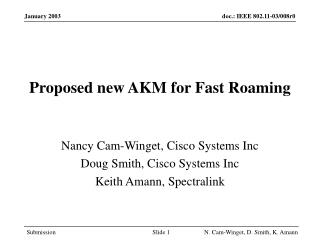 Proposed new AKM for Fast Roaming