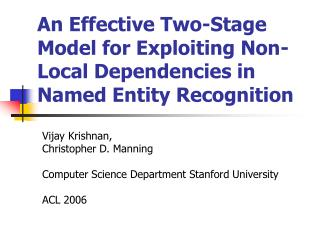 An Effective Two-Stage Model for Exploiting Non-Local Dependencies in Named Entity Recognition