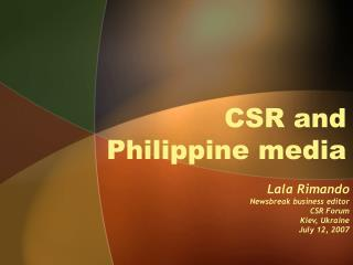 CSR and Philippine media