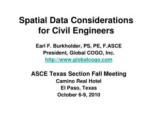 Spatial Data Considerations for Civil Engineers