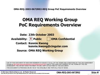 Date:	23th October 2003 	 	Availability:	      Public            OMA Confidential