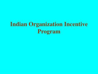 Indian Organization Incentive Program