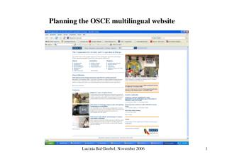 Planning the OSCE multilingual website