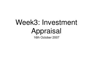 Week3: Investment Appraisal