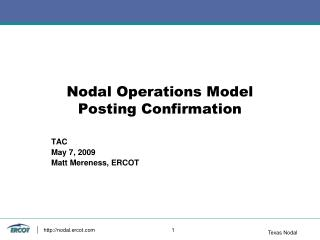 Nodal Operations Model  Posting Confirmation